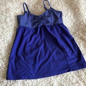 ATHLETA beautiful blue sports bra scrunch tank top